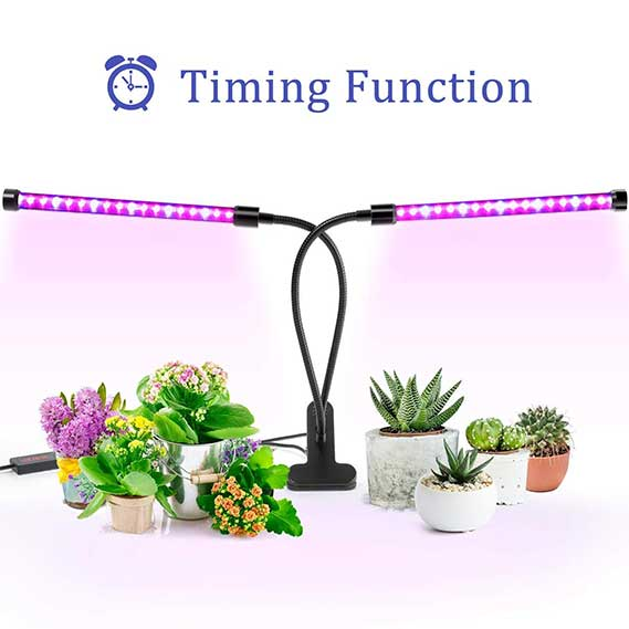 Grow Light, Ankace Upgraded Version 40W Dual Head Timing 36 LED 5 Dimmable Levels Plant Grow Lights