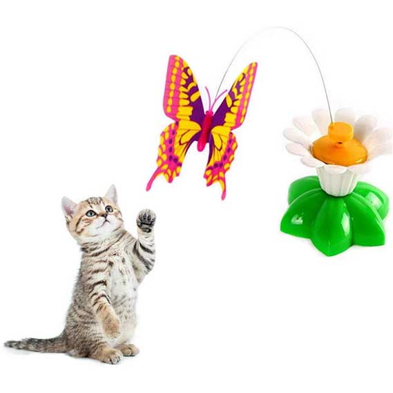 Haierc Funny Cat Toy Electric Automatic Rotating Butterfly Cat Toy