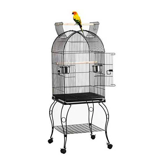 Yaheetech 59-inch Rolling Standing Large Medium Dome Parrot Bird Cage